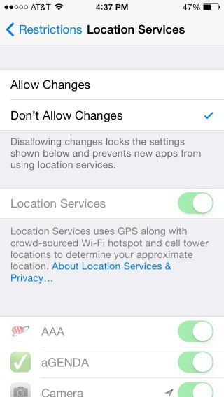 A screenshot of the list of the Location Services option in Restrictions with Don't Allow Changes selected